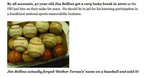 Jim Bellino baseball scandal Mother Teresa