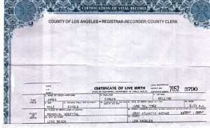 Jim Bellino birth certificate